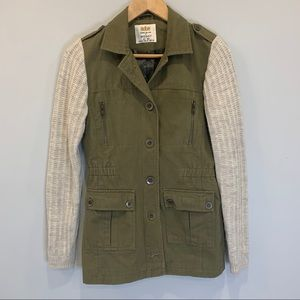 Safari jacket with Knit Sleeves by Sheggy